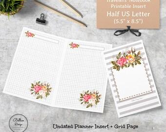 Grid Planner Insert, 5.5 x 8.5 Planner Refill, Half Letter Size, Printable Planner Insert, Grid Notebook, Grid Insert, Undated Daily Planner