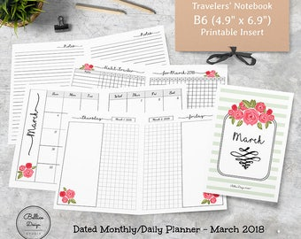 2018 Monthly Planner Inserts, 2018 Monthly Printable, 2018 Daily Planner, Habit Tracker, B6 Inserts TN, Insert B6, Dated Digital Planner