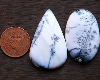 2pcs 156cts. 50x31mm 100% natural beautiful dendrite opal smooth hand polish cabochons jewelry & wire wrapped pendant making gemstone SKU210