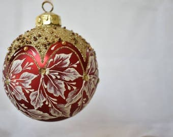 "Large 4 1/2"" Handpainted textural ornament"
