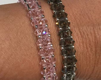 Bracelet double turn 925 sterling silver and Swarovski Crystal - pink and gray