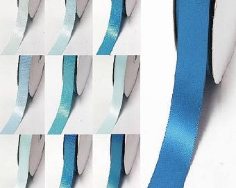 "blue 372-458 double faced satin ribbon By the 5 or 100 Yards Top Quality Silky Ribbon 3/8"",2/1"",7/8"",1"",1.5"",2"",2.5"",3"" Yama 28800"