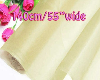 140cm Wide Cream 100% Real Mulberry Silk Organza Fabric Natural Silk Material (QI Za 20011W X Yards / Meters) Light Weight