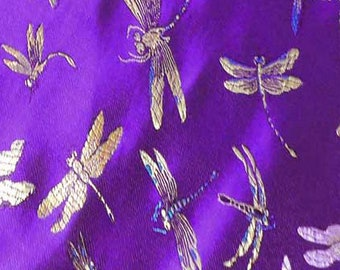 """36"""" wide Chinese brocade dragaonfly Violet shiny satin fabric faux silk material embroidered by the 0.5 YARDS, Yards Meters BR 67"""