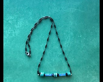 Turquoise and Lapis Bar Necklace