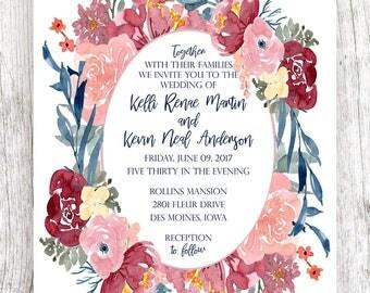 Burgundy and Blush Floral Wreath Wedding Invitation