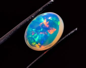 Top Quality Super Rainbow Electric Fire Welo Opal Oval Shape 1.85Carat Size 10x 7 x 6 mm