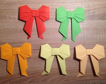 Large Bows (10 pieces) with optional colour, Origami Bows, paper-fold bows for gifts, decorations, etc