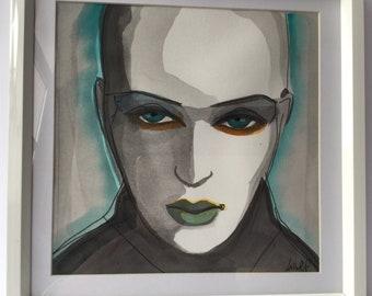 Androgynous portrait alien watercolor painting