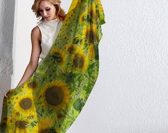 Spring Scarf, Spring Scarf Women, Spring Fashion for her, Sunflower Scarf, Sunflower Shawl, Nature Scarf,