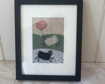 Handmade Vintage Textile Sheep Framed Picture