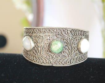 Antique bracelet | handmade bracelet, filigree bracelet | bracelet 3 stones, best gift- free shipping