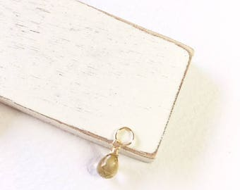 Rutilated gold quartz dangle, quartz drop, gold pendant, gift for her, minimalist jewelry,gold charm, small gold dangle,gold necklace