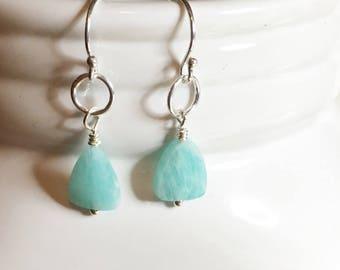 Brazilian amazonite,blue drop earrings, dainty earrings, simple earrings, ,gift for her,blue earrings,birthday gift,sterling silver earrings