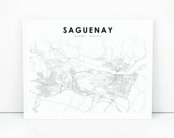 Quebec map etsy saguenay map print quebec qc canada map art poster city street road map print sciox Gallery