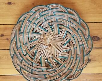 Vintage Rattan Round Basket //  Round Wicker Basket // Boho Rattan Basket // Retro Rattan Basket // Home Décor