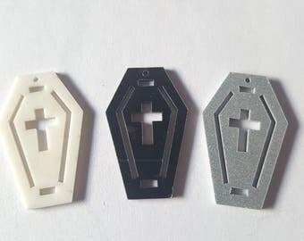 Coffin pendant, Glitter coffin pendant, Jewellery pendant, Jewellery making,Coffin, Casket, Halloween, Gothic, Goth, Emo, Alternative