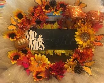 Mr&Mrs Chalkboard Wreath