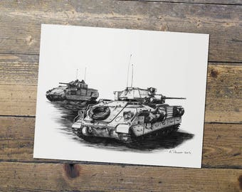 Bradley - US Army - Military Art - Bradley Fighting Vehicle Print - Gift for Him