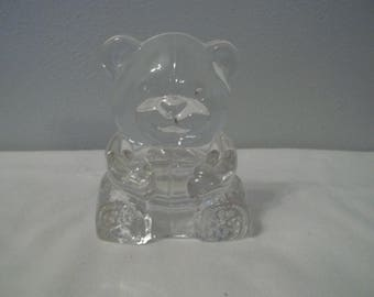 Partylite Clear Glass Teddy Bear Votive / Candle Holder 4 in. Tall
