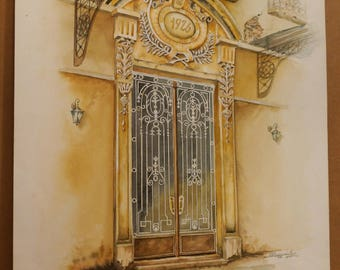 OLD GREEK DOORS, 1926 Door in Thessaloniki, (Aquarelle) 50x70cm, 2013