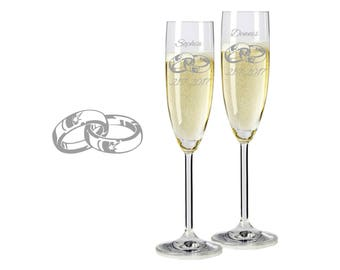 "2 Leonardo champagne glasses with personalized engraving ""rings"" bride/Groom with name and date engraved wedding gift"
