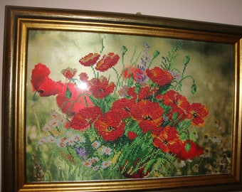 picture embroidered with beads