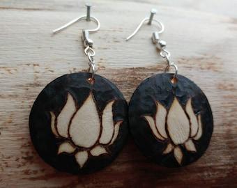 Woodburned earrings, Lotus jewelry, lotus art, lotus flower earrings, Lotus flower jewelry, woodburned lotus earrings, flower earrings