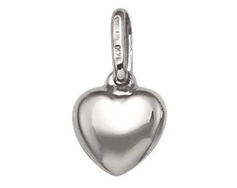 18k solid white gold puffed heart pendant(15mm)