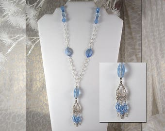"""Blue Chandelier Pendant on Silver Finish Chain with Sparkle Accents. 30"""" Long Maximum.  Lobster Claw Clasp."""