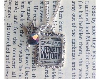 Suffragette Victory picture charm necklace, suffragette jewelry, suffragette jewellery, votes for women