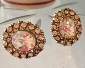 1940s  Elegant earrings, Clip on earrings, Non-pierced earrings, Sparkly earrings, rhinestone earrings