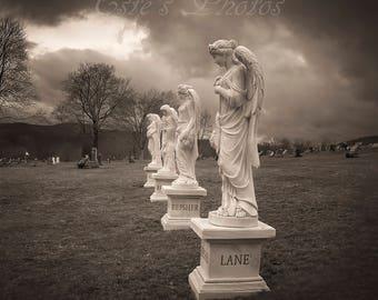 Sepia Angel Gravestones