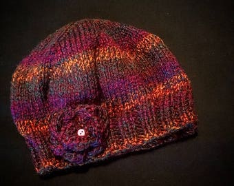 Chunky wool hat with detachable flower