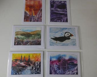 Pack of 6 Blank Encaustic Wax Art Cards 5 x 7
