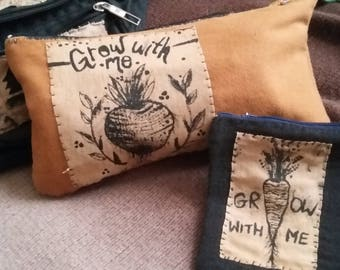 """Handmade """"Grow With Me"""" Zippered Pouch"""
