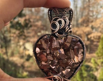 Golden Brown Aura Quartz Heart Pendant,Wire Wrapped Jewelry,Wire Wrapped Quartz, Necklace,Valentines, Druzy,Wire Wrapped Crystal