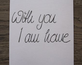 """Handlettering greeting card """"with you I am the home"""""""