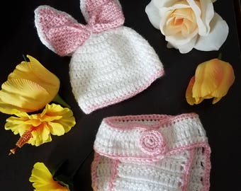 Easter Bunny Baby Beanie and Diaper Cover
