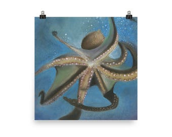 Giant Octopus - Beautiful Archival Cotton Rag Fine Art Giclée Print Supporting the Nonprofit Fresh Artists