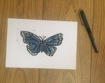 Butterfly Lino Print A5