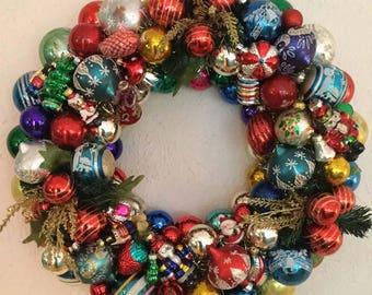 Vintage Ornament Christmas Wreath, Holiday Decor, multicolor