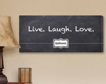 Personalized Live, Laugh, Love Chalkboard Canvas Print - Family Prints - Personalized Chalkboard Prints - Live Laugh Love Canvas Prints