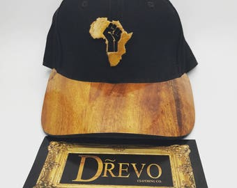 Drevo real wood hand made Africa fist curved brim (dad) hat