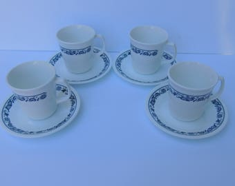 Vintage Corning Ware Corelle Old Town Blue Mugs & Saucers