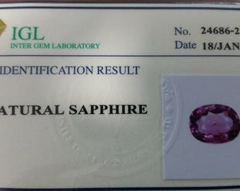 Natural purple certified unheated sapphire 1.99 ct VVS with IGL
