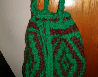 Green Brown hobo boho bag purse crochet