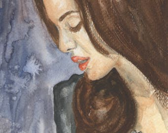 Watercolor portrait of Angelina Jolie hand painted on Fabriano paper for painting