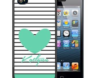Personalized Rubber Case For iPhone X, 8, 8 plus, 7, 7 plus, 6s, 6s plus, 5, 5s, 5c, SE - Teal Stripes Heart