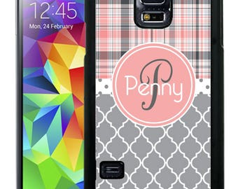 Personalize Rubber Case For Samsung Note 3, Note 4, Note 5, or Note 8- Pink Gray Plaid Quatrefoil